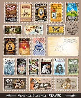 Coleção de selos postais vintage
