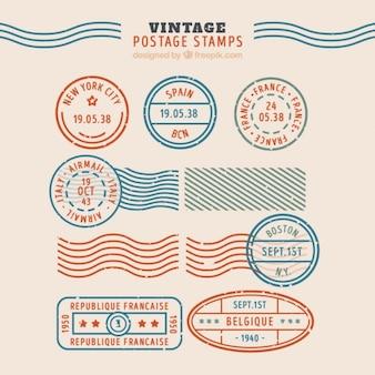 Coleção de selos vintage