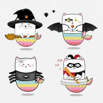Coleção de sereia gato bonito conjunto para o halloween