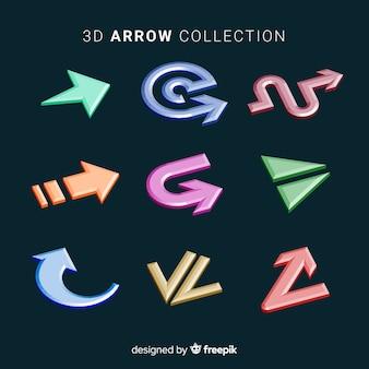 Coleção de seta 3d moderna
