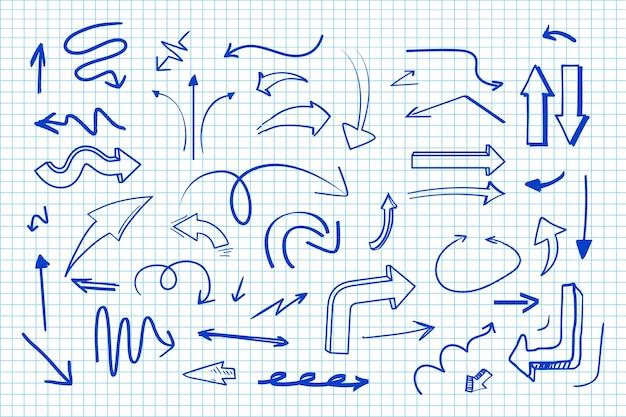 Coleção de seta desenhada de mão