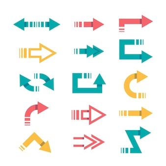 Coleção de setas coloridas de design plano