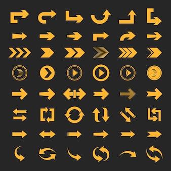 Coleção de setas de conceito para interface de aplicativos móveis de web design e muito mais