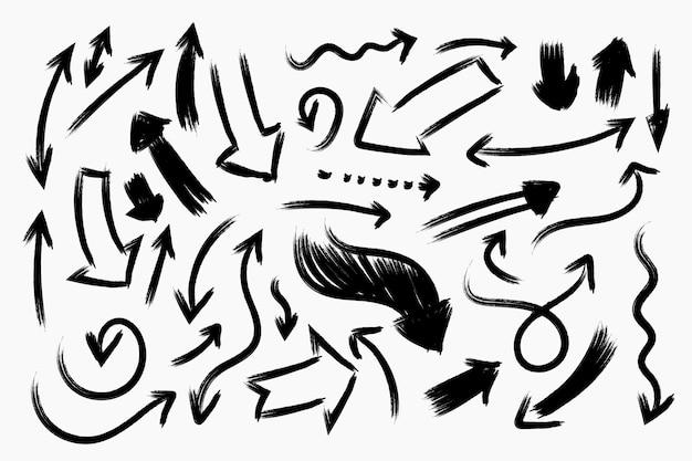 Coleção de setas de design desenhado à mão