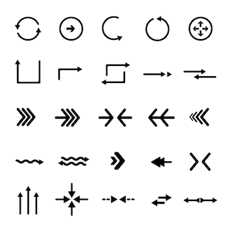 Coleção de setas de design plano
