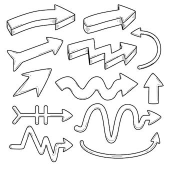 Coleção de setas desenhadas à mão de desenho animado