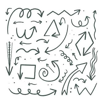 Coleção de setas desenhadas à mão