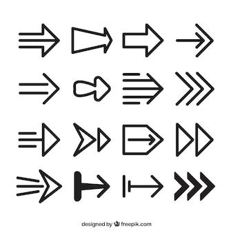 Coleção de setas diferentes para marcar
