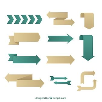 Coleção de setas em design plano
