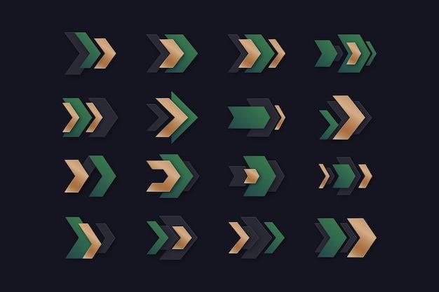 Coleção de setas gradientes
