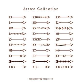 Coleção de setas lineares