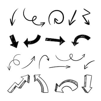 Coleção de setas minimalistas desenhadas à mão