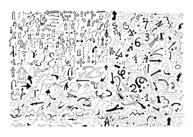 Coleção de setas pretas de doodle
