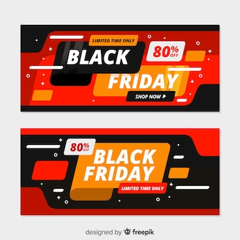 Coleção de sexta-feira design plano preto de banners