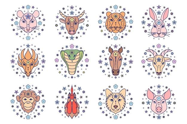 Coleção de signos do zodíaco chinês em fundo branco. ícones de arte de linha.