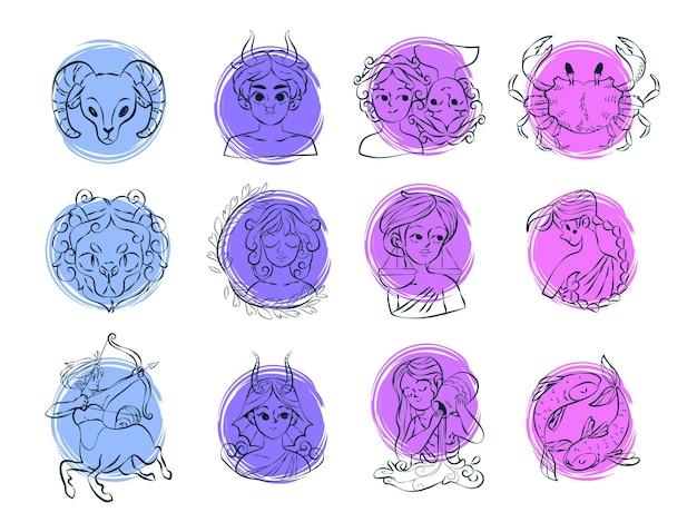 Coleção de signos do zodíaco desenhado à mão