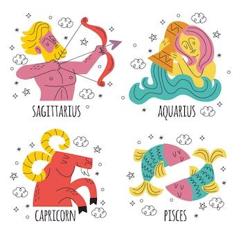 Coleção de signos do zodíaco desenhados à mão