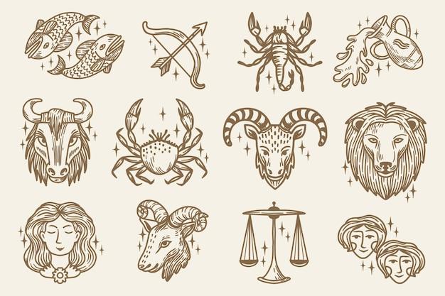 Coleção de signos do zodíaco gravados à mão