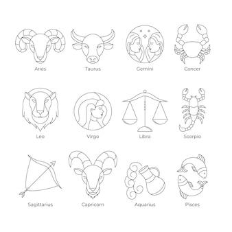 Coleção de signos do zodíaco lineares