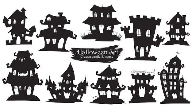 Coleção de silhueta assustador castelo do dia das bruxas