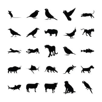 Coleção de silhueta de animais