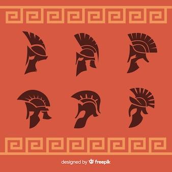 Coleção de silhueta de capacetes espartanos