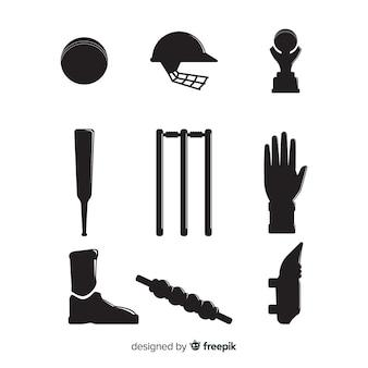 Coleção de silhueta de elementos de críquete