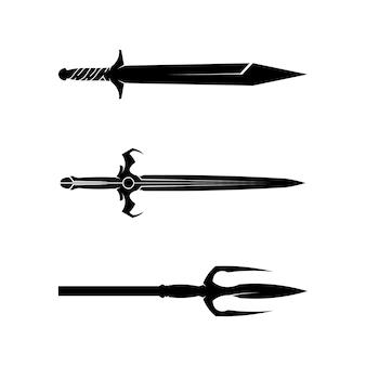 Coleção de silhueta de espadas