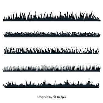 Coleção de silhueta de fronteira grama isolada