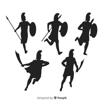 Coleção de silhueta de guerreiro espartano
