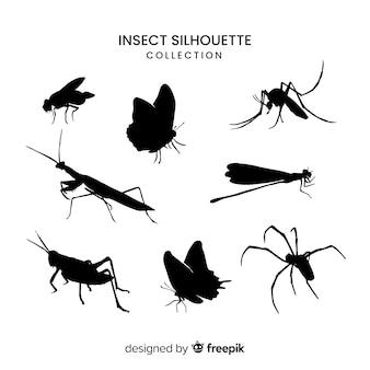 Coleção de silhueta de inseto realista