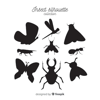 Coleção de silhueta de insetos