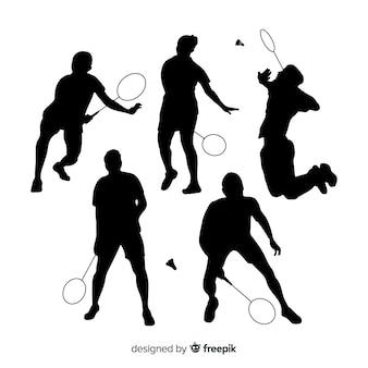 Coleção de silhueta de jogador de badminton