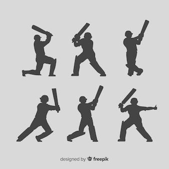 Coleção de silhueta de jogador de críquete