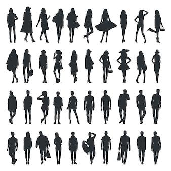 Coleção de silhueta de pessoas de moda