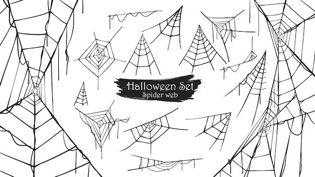 Coleção de silhueta de teia de aranha assustador de halloween