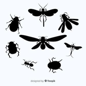 Coleção de silhueta plana inseto
