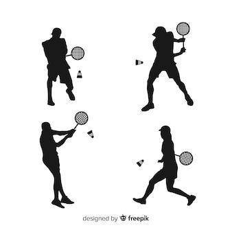Coleção de silhueta plana jogador de badminton