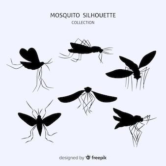 Coleção de silhueta plana mosquito