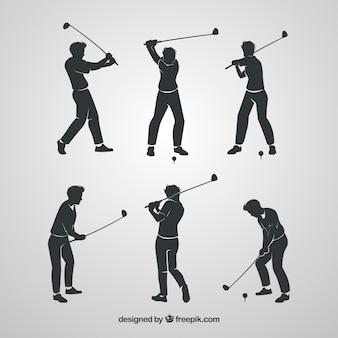 Coleção de silhueta swing de golfe