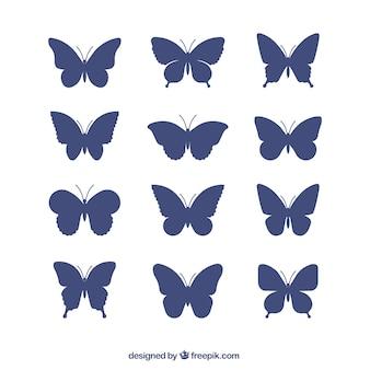 Coleção de silhuetas borboletas