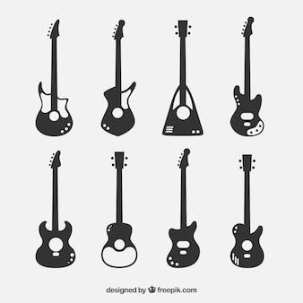 Coleção de silhuetas da guitarra baixa