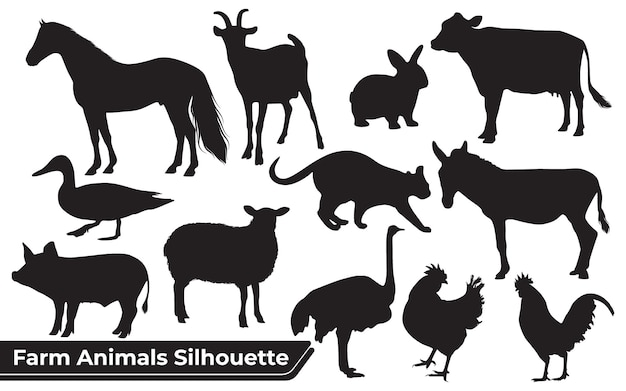 Coleção de silhuetas de animais de fazenda em diferentes posições