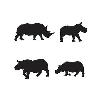 Coleção de silhuetas de animais rinocerontes
