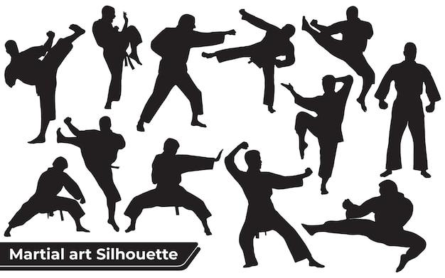 Coleção de silhuetas de artes marciais em diferentes poses