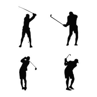 Coleção de silhuetas de atletas de golfe