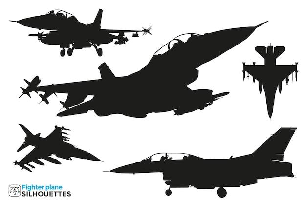 Coleção de silhuetas de avião de combate isoladas em diferentes pontos de vista.