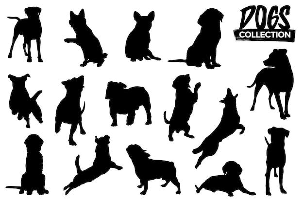 Coleção de silhuetas de cães isoladas. recursos gráficos.