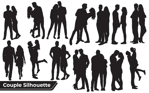 Coleção de silhuetas de casais românticos em diferentes poses