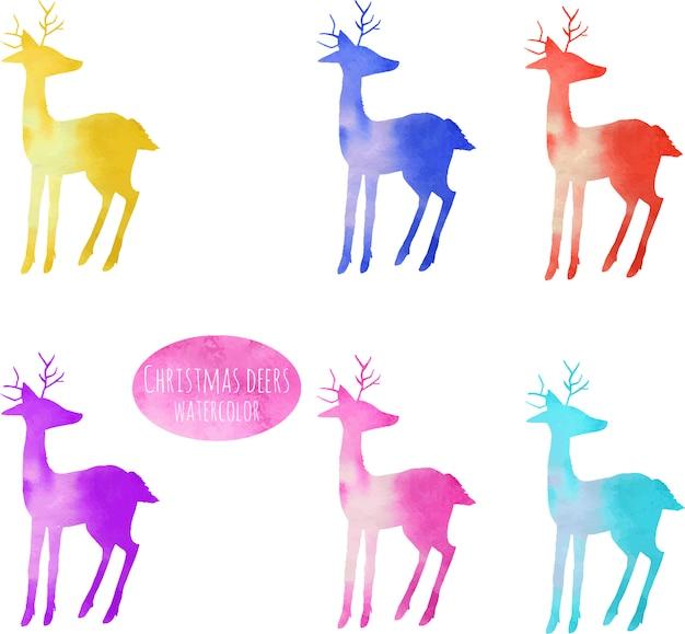Coleção de silhuetas de cervos coloridos em aquarela
